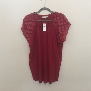 NWT LOFT Red Short Sleeve Blouse
